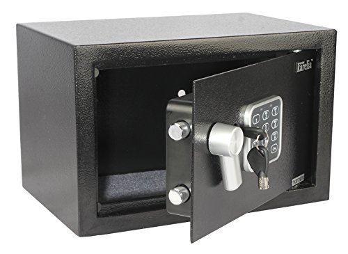 Finnkarelia 0.3 Cubic Digital Security Box Safe Box Security Safe for Jewelry Gun Cash Passport and More Compact Size 12.2x7.8x7.8 inches Black