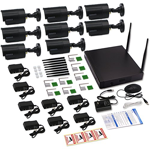 OOSSXX 8-Channel HD 1080P Wireless Network/IP Security Camera System(IP Wireless WIFI NVR Kits),8Pcs 1.3 Megapixel Wireless Indoor/Outdoor IR Bullet IP Cameras,P2P,App,No HDD