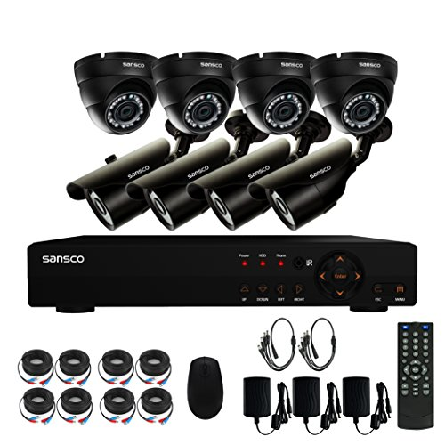 SANSCO Smart CCTV Security Camera System with 8-Channel 1080N DVR, (8) 1MP 720P All High Definition Waterproof Bullet Cameras, All-in-One Wired Solution for Home Surveillance