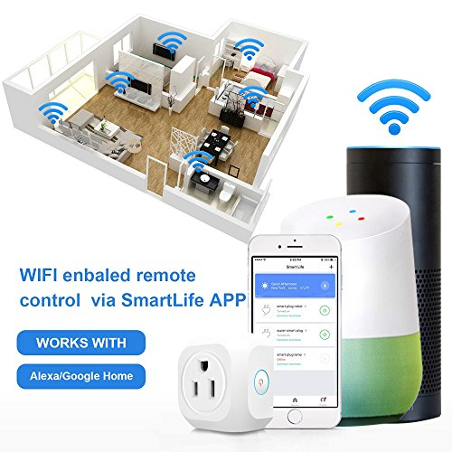 Smart Plug Wifi Mini Smart Outlet Compatible with Alexa Echo & Google Home Remote Control By Smart Phone (2 pcs)