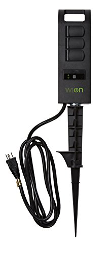 WiOn 50053 Outdoor Wi-Fi Plug-In Yard Stake, 3 Grounded Outlets