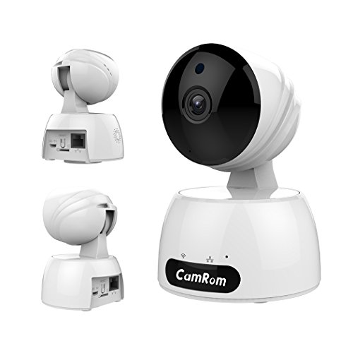 CamRom Smart PTZ Cloud 720P WiFi Wireless IP Home Security Surveillance Camera with Stylish Appearance Design,Motion Detection,Night Vision and Two-Way Audio for Baby /Elder/ Pet/Nanny Monitor (white)