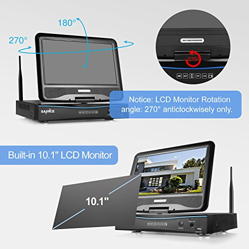 SANNCE 4CH Megapixel 720P Wireless Outdoor IP Camera System with Build-in 10.1