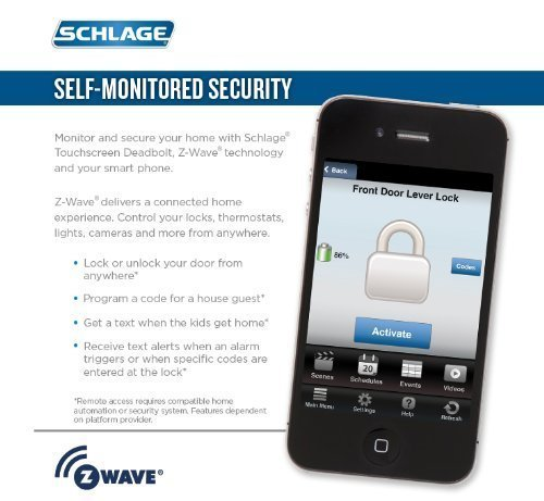 Schlage Z-wave Connect Century Touchscreen Deadbolt with Extra Key, Compatible with Alexa via SmartThings, Wink etc., Aged Bronze, BE468-CEN-716-2KA