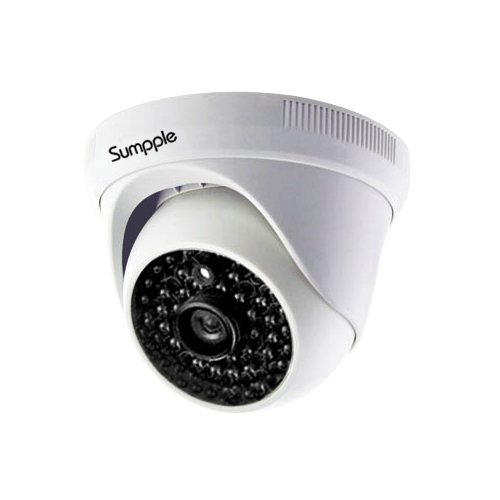 Sumpple Wired/Wireless Wi-Fi 720P Indoor Ip Video Dome Camera, Network Security Camera, Night Vision, Motion Detection, Video Record for Home, Office, Business, Support iOS, Android or PC White